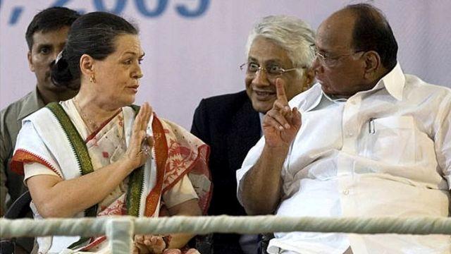 सोनिया गांधी के साथ शरद पवार