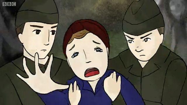 Madre siendo agarrada por dos soldados nazis
