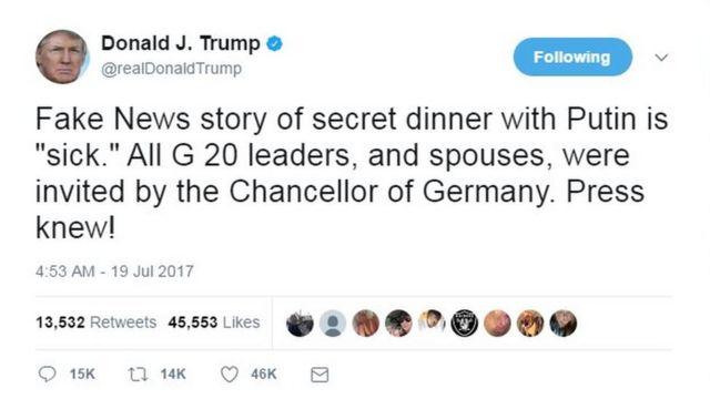 """Cənab Trump isə Twitter-də bildirib: """"Putinlə gizli nahar barədə xəbərlər saxta """"xəstədir"""". Bütün G20 liderləri və xanımları Almaniya Kansleri tərəfindən dəvət olunub. Mətbuat bilirdi"""""""