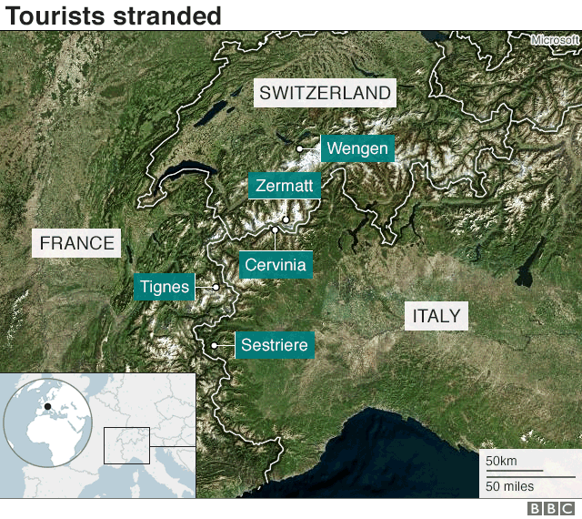 Map shows tourists stranded in several ski resorts