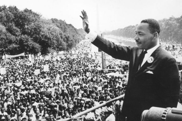 Martin Luther King giving his historic speech in Washington.