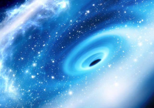 Ilustración del agujero negro supermasivo que se encuentra en el centro de la Vía Láctea