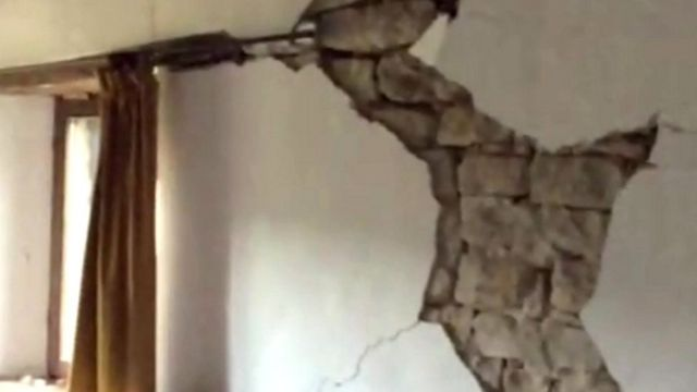 Earthquake damage to house interior