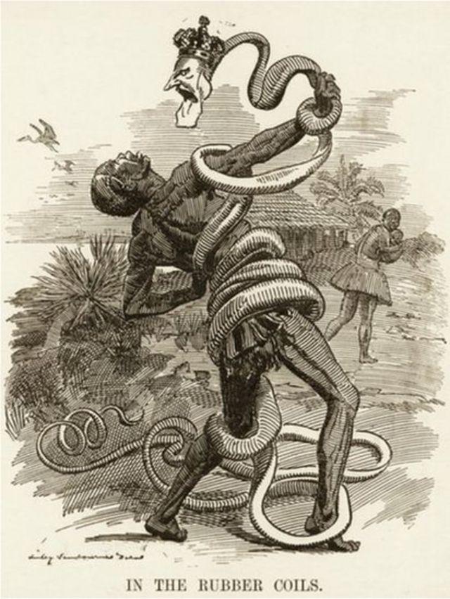 Ilustración de congoleño y rey Leopoldo.