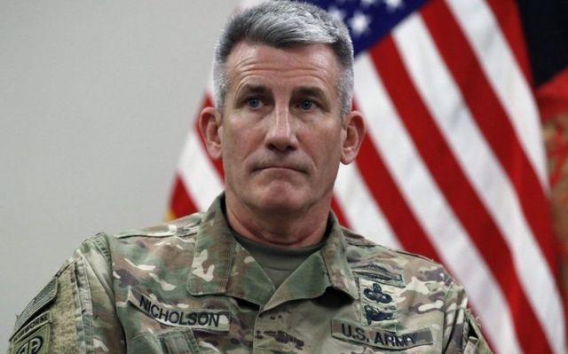 """General John Nicholson waxa uu Iiraan iyo Ruushka ku eedeeyay """"in ay sharciyaynayaan Talaiban """""""