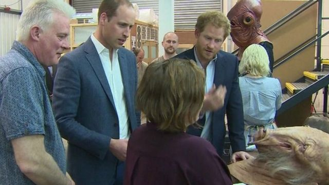 Princes William and Harry on their Pinewood Studios visit