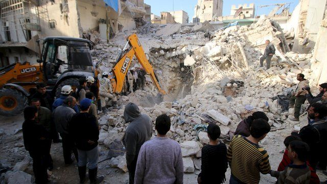 Civil defence members search for survivors after air strikes by pro-Syrian government forces