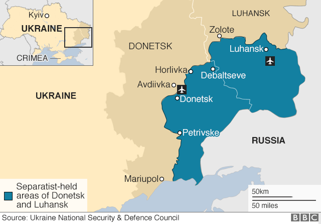 Map of eastern Ukraine