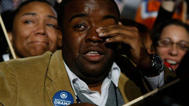 Simpatizantes de Obama durante la celebración de su victoria en 2008.