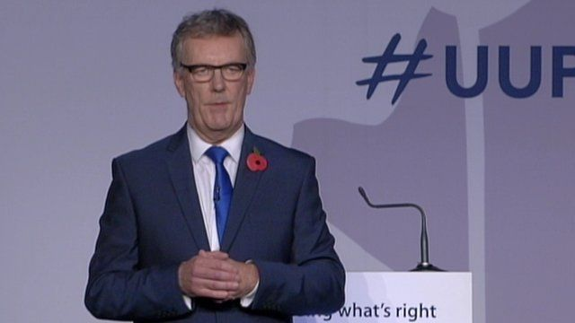 Mike Nesbitt delivers the leader's speech as part of the Ulster Unionist Party Conference 2015.