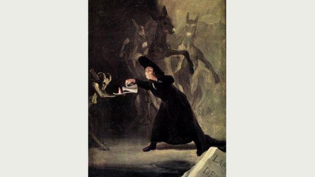 """""""Лампа дьявола"""" Гойи изображает человека, который считает, что заколдован и его жизнь теперь зависит от того, не погаснет ли лампа"""