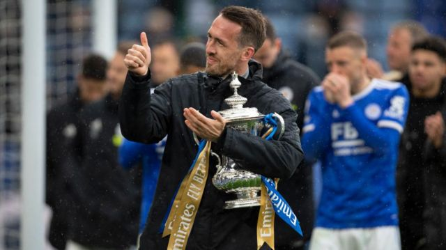Christian Fuchs with the FA Cup