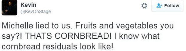 「ミシェルはうそをついた。くだものと野菜って言ったよね?! あれはコーンブレッドだよ! コーンブレッドがたまるとどう見えるか分かってる」