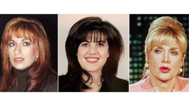 از راست: جنیفرفلاورز، مونیکا لوینسکی و پائولا جونز