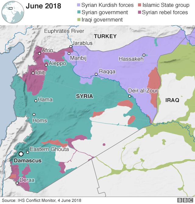 今月4日時点の各勢力の支配地域、、薄紫がシリア・クルド人勢力、オレンジがIS、緑がシリア政権、濃紫がシリア反体制勢力、薄緑がイラク政府(IHSコンフリクト・モニター調べ)