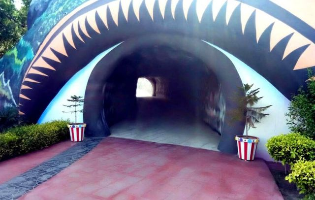 A tunnel-like entrance to Singh's mansion