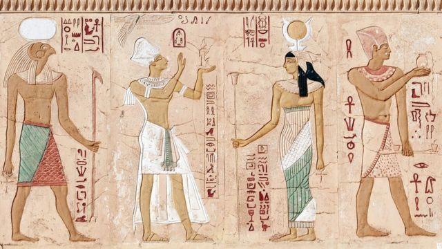 Pintura egípcia, com hieróglifos