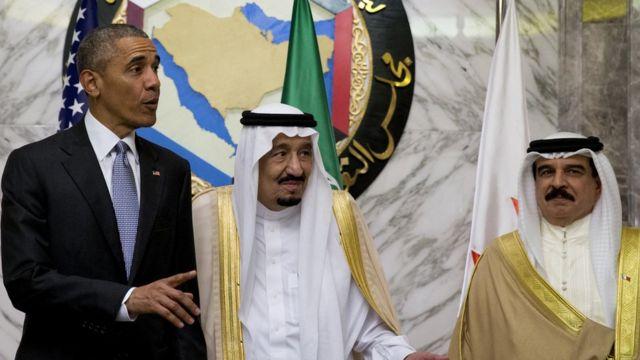 "US President Barack Obama, Saudi Arabia""s King Salman, and Bahrain""s King Hamad bin Isa al Khalifa"