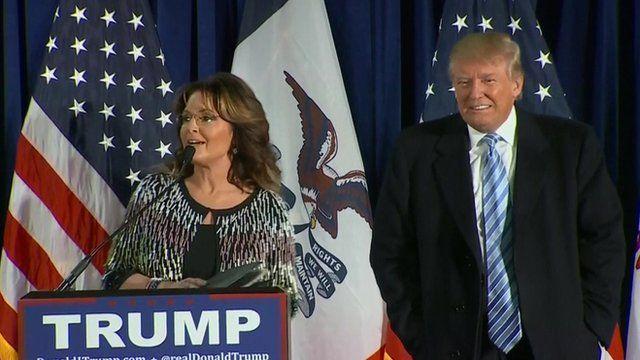Sarah Palin standing next to Donald Trump