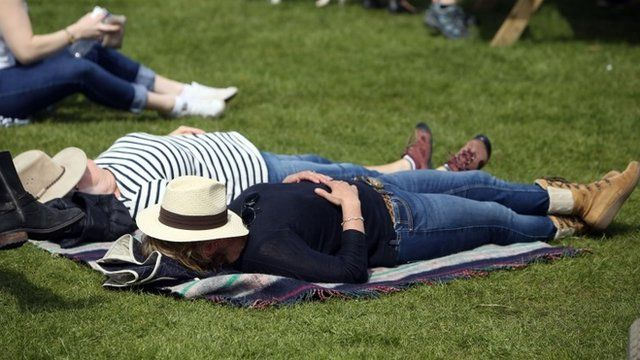 Spectators enjoy the sunshine during day three of the 2016 Mitsubishi Motors Badminton Horse Trials.