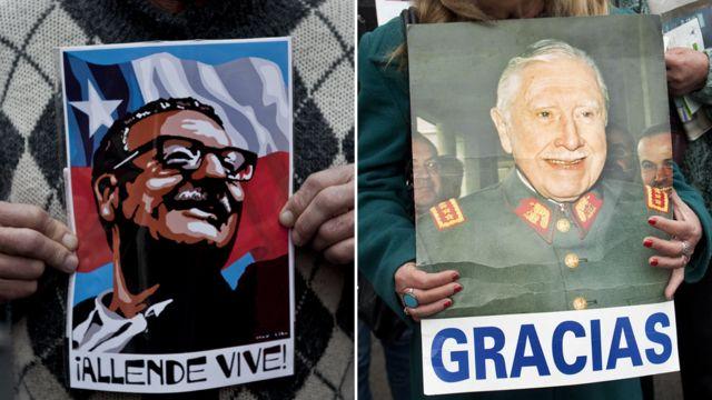 Pancarta de simpatizante de Allende a la izquierda y de simpatizante de Pinochet a la derecha