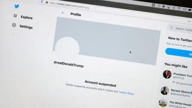 تصویری از صفحه توییتر ترامپ در روز ۸ ژانویه ۲۰۲۰