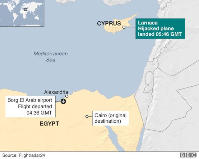 アレクサンドリア、カイロ、キプロス・ラルナカの位置関係