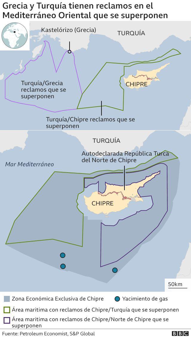Mapa sobre reclamos de Grecia y Turquía en el Mediterráneo.