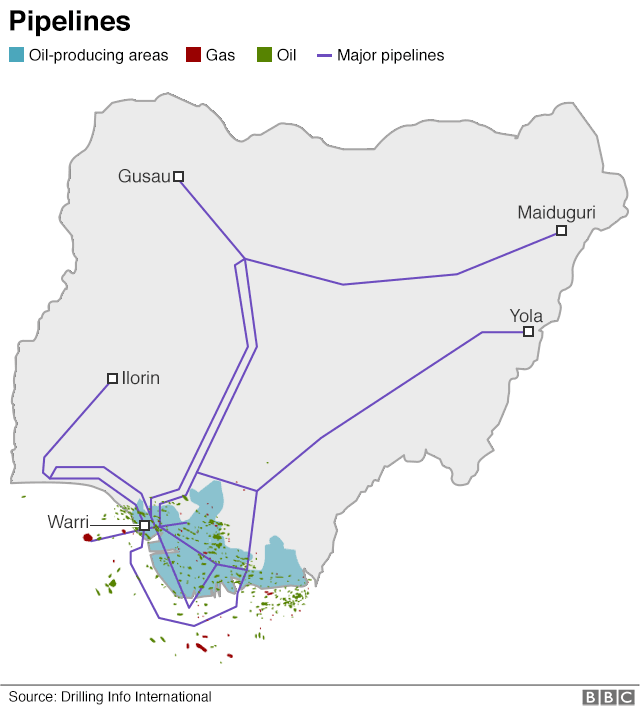 Map showing the oil pipelines in the country