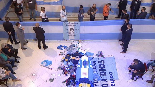 Maradona's coffin inside the presidential palace