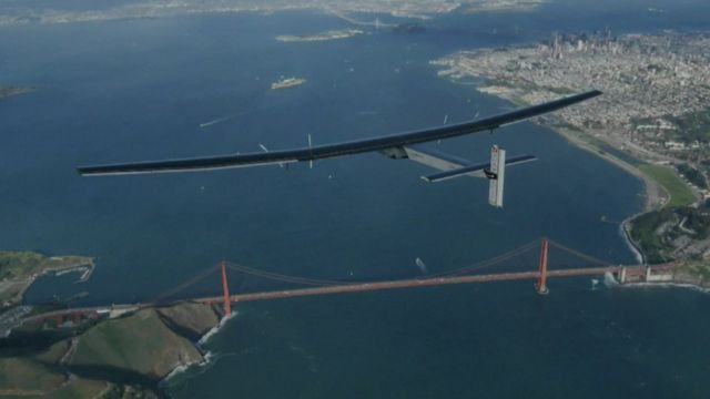 Solar Impulse over Golden Gate bridge