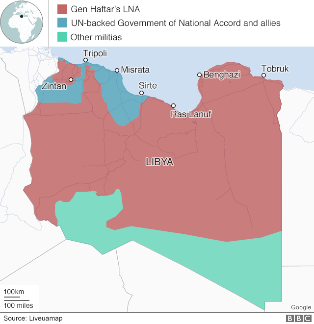 Map of Libya, showing who controls which area