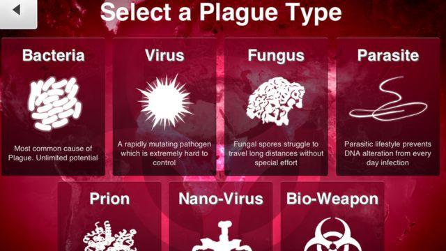 Tela do jogo Plague Inc. diz: 'Selecione um tipo de praga: bactéria; vírus; fungo; parasita; prion; nanovírus; arma biológica'