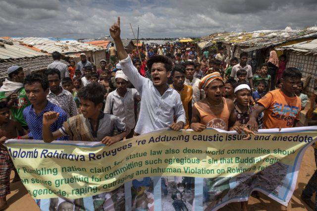 ဆန္ဒပြနေတဲ့ ဘင်္ဂလားဒေ့ရှ်နိုင်ငံရောက် ရိုဟင်ဂျာဒုက္ခသည်