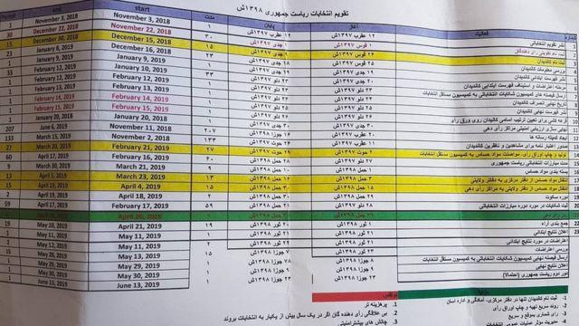 تقویم انتخاباتی افغانستان
