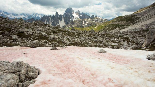 Nieve rosada en montañas de Las Dolomitas