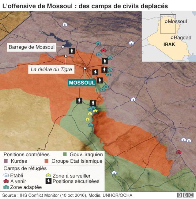 La ville de Mossoul, dans le nord du pays, est à quelques kilomètres de la Turquie à l'Est et de la Syrie, à l'Ouest