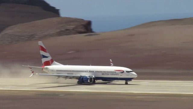 British Airways test flight lands on runway at St Helena airport