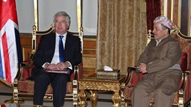 مايكل فالون ورئيس كردستاد العراق مسعود برزاني