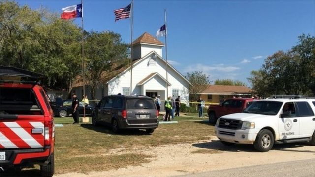 Church in Sutherland Springs, Texas, where a gunman opened fire on the congregation, 5 November 2017