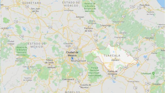 Tlaxcala en un mapa de México