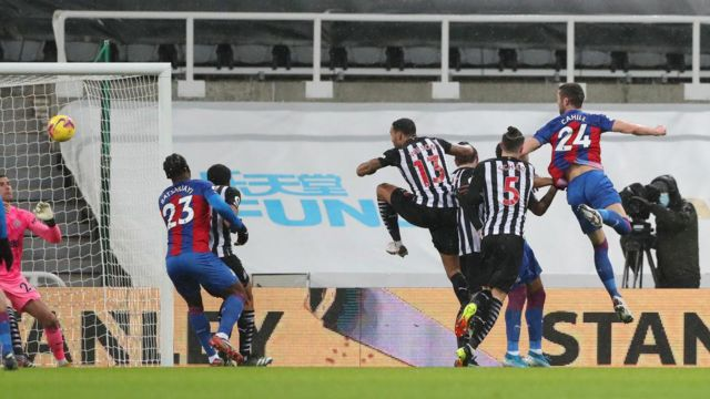 Gary Cahill scores for Crystal Palace against Newcastle
