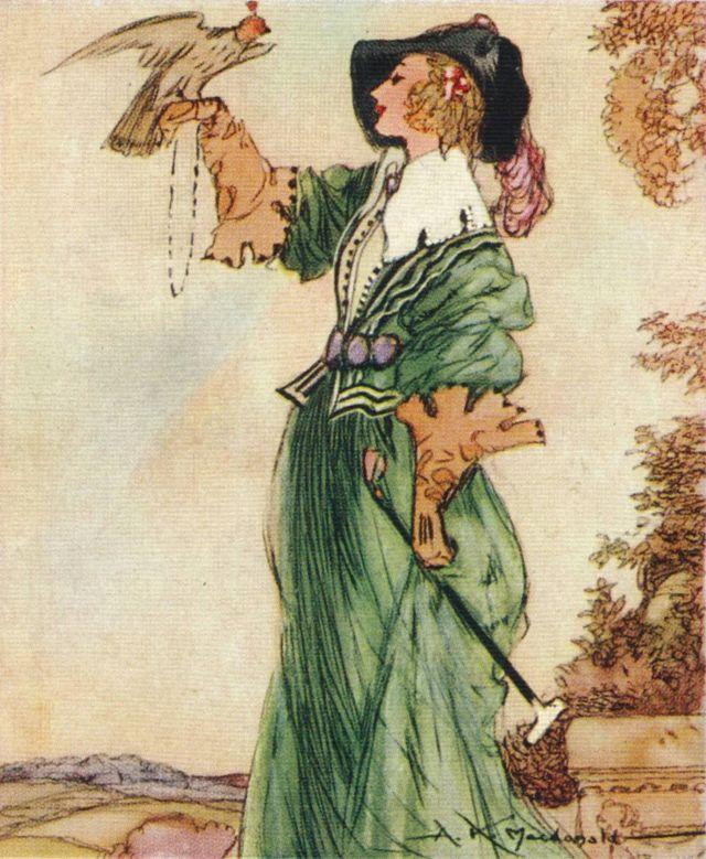 Diana Die Vernon es la heroína de la novela histórica de 1817 de Walter Scott, Rob Roy. De la serie de tarjetas de cigarrillos John Player & Sons 'Famous Beauties', 1937.