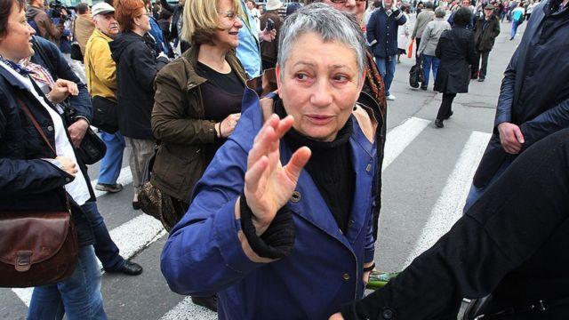 Ulitskaya 2012'de Moskova'daki Putin karşıtı bir gösteride