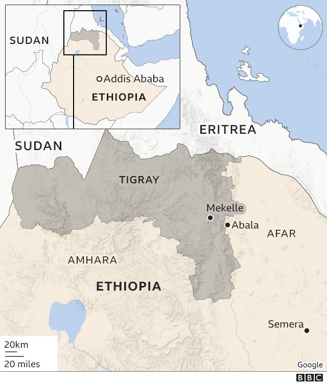 Map showing Tigray and other regions with key places