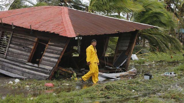 Casa destruida en Puerto Cabezas