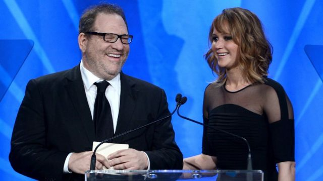Jennifer Lawrence with Harvey Weinstein at the GLAAD Media Awards in 2013