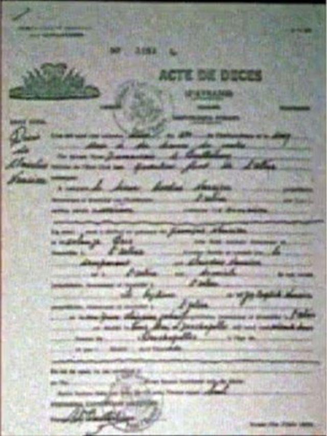 Certificado de defunción de Clairvius Narcisse