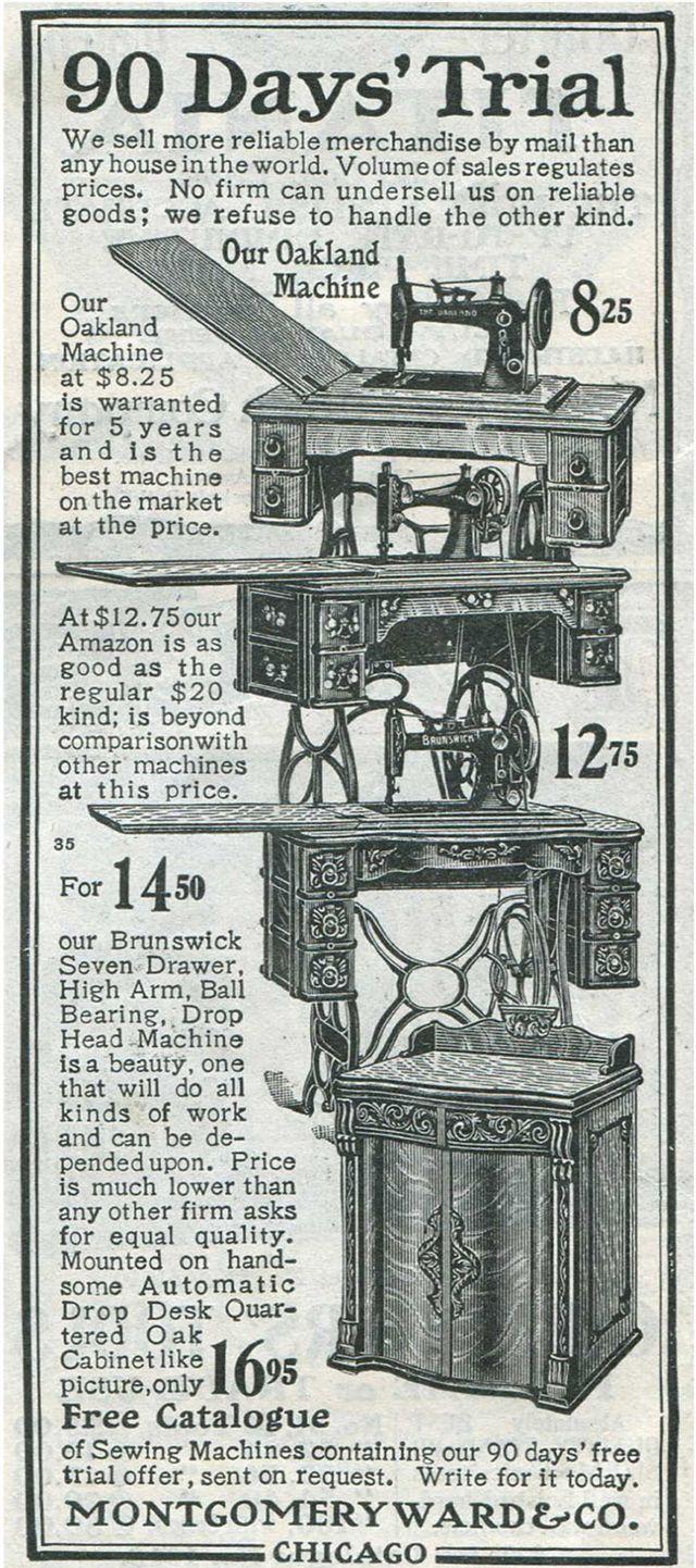 Anuncio de máquinas de coser en el catálogo de Montgomery Ward & Company, 1903.