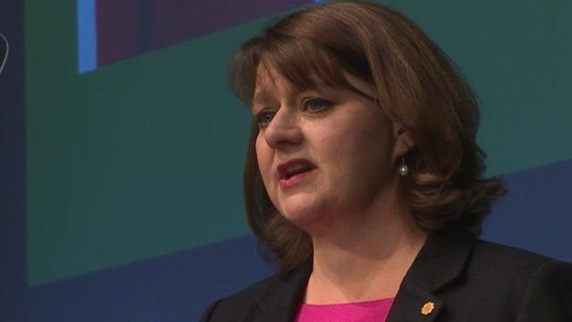 Leanne Wood speaking at the Plaid party conference in Llangollen